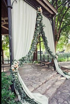 Curtains with greenery