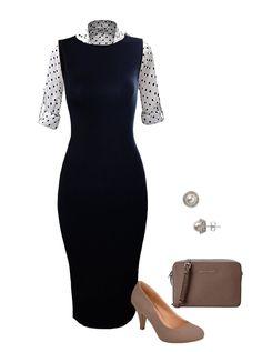 Black Midi Dress   Black & White Polka Dot Top   Taupe Pumps   Michael Kors Crossbody   Pearl Stud Earrings