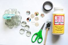 """DIY Glass Magnets - I've made these before and I'm """"craft challenged"""" so that proves anyone can do it! ~@Literary Mom"""