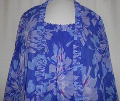 ADRIANNA PAPELL Blouse Shirt Tank Jacket 2 Piece Set Size M Sheer Purple Floral #AdriannaPapell #Tunic #Career