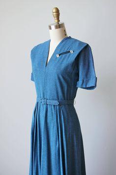 1940s Dress 40s Vintage Dress Cadet Blue Fleck Rayon