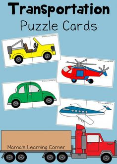 Transportation Puzzle Cards for Preschoolers - Mamas Learning Corner Preschool Puzzles, Puzzles For Toddlers, Preschool Themes, Preschool Learning, Learning Activities, Toddler Activities, Preschool Education, Early Education, Transportation Theme Preschool