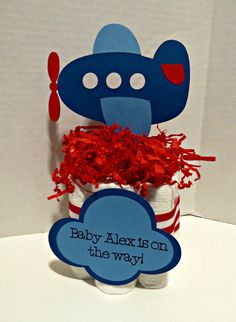 Airplane Mini Diaper Cake Centerpieces for by YourPartyStartsHere