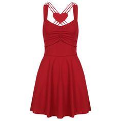 Yoins Red Sexy Cross Back A-line Mini Dress