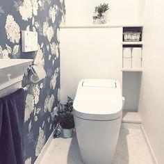 おしゃれで可愛く/ホワイトインテリア/清潔感重視/北欧/モノトーン/白黒インテリア…などのインテリア実例 - 2017-01-11 20:19:36 | RoomClip(ルームクリップ) Room, Interior, Home, Powder Room, Restroom, Bathroom Toilets, Toilet, Renovations, Interior Deco