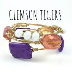 Clemson University Tigers Game Day Wire Wrapped Bangles Set, Courtney And Courtnie, Slab, Crystal Bracelet, Handmade Jewelry by CourtneyAndCourtnie on Etsy https://www.etsy.com/listing/254756198/clemson-university-tigers-game-day-wire