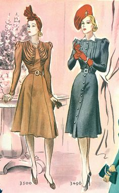 So marvelously chic!  Vintage 1930s/1940s  hats, dresses - fashion