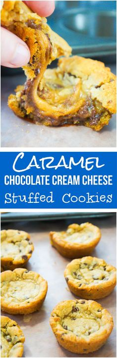 Chocolate chip cookies filled with caramels and chocolate cream cheese. This easy dessert recipe only uses 3 ingredients.