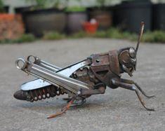 Metal Hornet Sculpture Scrap Metal Unique by GreenHandSculpture