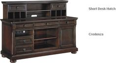 The Signature Designs by Ashley Porter Home Office Desk Hutch provides plentiful storage space for your home office needs. Crafted with cherry veneers and hardwood solids, this vintage hutch features several open shelves and two cabinets with glass doors. Office Furniture Stores, Parks Furniture, Dream Furniture, Home Furniture, Vintage Hutch, Glass Cabinet Doors, Glass Doors, Desk Hutch, Home Office Desks