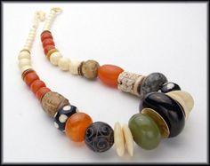 TIBET MEETS AFRICA - Mongolian Jet Focal - Handcarved Jade - Handmade African Beads Long Necklace