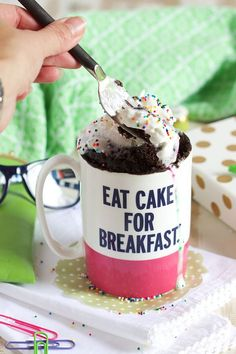 Rich, chocolatey, fluffy cake that's ready in less than 2 minutes, this is the best chocolate mug cake recipe there is. | @suburbansoapbox