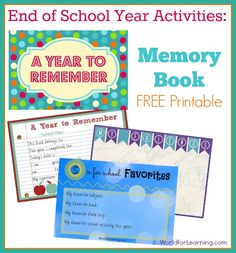 End of School Year Activities: Memory Book [FREE Printable] - World For Learning