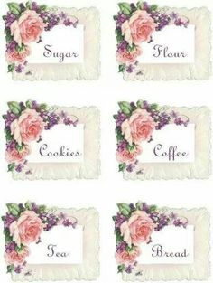 roses for the kitchen tags/labels Vintage Tags, Vintage Labels, Vintage Prints, Vintage Floral, Decoupage Vintage, Printable Labels, Printable Paper, Etiquette Vintage, Diy And Crafts