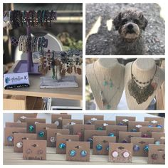 """We're out at @oldtownmarketshops this morning with our """"Head of Security"""" Milo. Don't worry he's just a big ball of love in a tiny package. We also have all of our studs earrings #buy2get1free !  #beautifulsaturday #rolesvillenc #wakeforestnc #raleighnc #etsyshop #explorationk #thingstodoonsaturday #ha"""