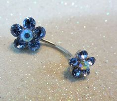 Belly button ring, crystal flowers belly ring 5 colors available 16 ga SALE | YOUniqueDZigns - Jewelry on ArtFire
