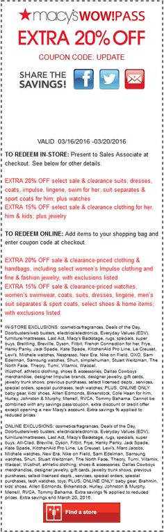 Pinned March 19th: Extra 15-20% off at #Macys or online via promo code UPDATE #coupon via The #Coupons App