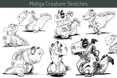 I love silly, chubby, lil creatures. Creature Sketches (artist unknown).