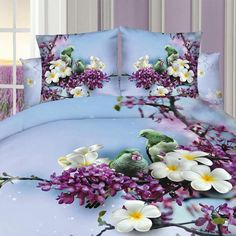 3D Purple and Blue Flowers Bedding Set 100% Cotton. Sizes Full, Queen and King 4 pcs