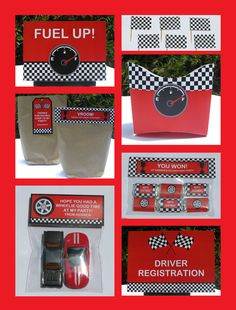 Printable race car party decorations.