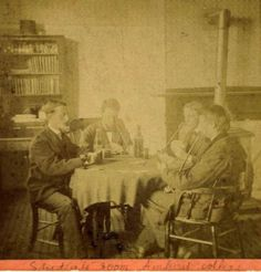 photo AMHERST COLLEGE Students Room stereoview LOVELL Mass WINE BOTTLES cards in…