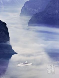 Norway, Western Fjords, Aurland Fjord, Overview of Cruise Ship in Fjord Photographic Print by Shaun Egan at Art.com