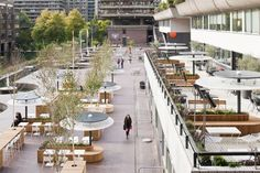 Barbican Foodhall and Lounge - SHH (London, UK) 2011 Restaurant & Bar Design Awards Restaurant Streets, Terrace Restaurant, Restaurant Design, Plaza Design, Terrace Design, Hall Design, Food Court Design, Outdoor Cafe, Outdoor Dining