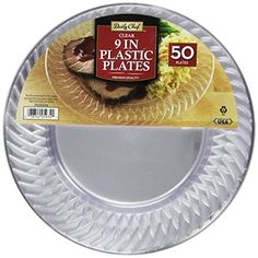 $19 Daily Chef Clear Plastic Plates 9 Inch 50 Count Daily Chef   sc 1 st  Pinterest & Best Heavy Duty Plastic Plates for a Wedding that look real ...