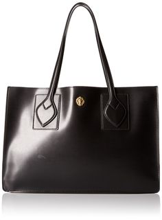Anne Klein Amelia Large Tote, Black/Camel. 3d iconic lion detail. 1 back wall slip pocket.