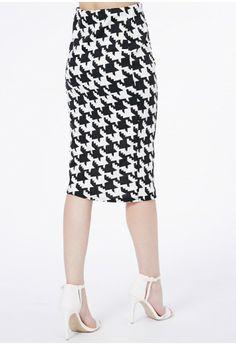 Orinoka Dogtooth Print Pencil Midi Skirt - Midi Skirts - Skirts - Missguided