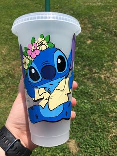 Get a FREE pour painting with a purchase of a Personalized Reusable Starbucks cold venti cup, 24 oz , name is handwritten not a font, lilo and stitch characters Starbucks Tumbler, Starbucks Cup Art, Personalized Starbucks Cup, Custom Starbucks Cup, Disney Stitch, Lilo Y Stitch, Cute Stitch, Disney Tassen, Peluche Stitch