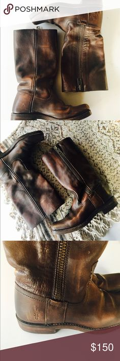 """Women's Brown Leather Frye Boots GUC Women's Brown Leather Frye Boots light scratches as seen in pictures. Size 5.5 Toe to heel measure 10"""" Frye Shoes Combat & Moto Boots"""