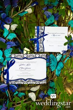 """""""Love Bird Damask"""" Stationery Collection + Beautiful Butterfly Decorative Set {garden wedding, enchanted forest, wedding theme, #spring}"""