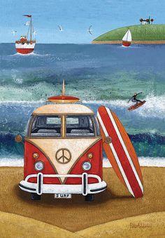 Art print volkswagon surfboard by peter adderley volkswagen Vw Beach, Beach Art, Art Plage, Bus Art, Seaside Art, Posca Art, Surfboard Art, Am Meer, Naive Art