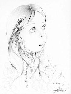 Glasses Girl Drawing Etsy New Ideas Drawing Sketches, Pencil Drawings, Art Drawings, Art Wall Kids, Art For Kids, Wall Art, Girl Face Drawing, Life Drawing, Elephant Art