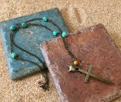 Copper Cross Necklace with Jade Beads and by GrecoGirlJewelry