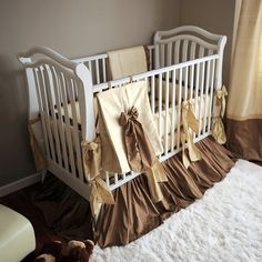 """gorgeous gold crib bedding perfect for not finding out the sex """") Baby Crib Bedding Sets, Crib Sets, Baby Bedroom, Baby Rooms, Vintage Baby Cribs, Vintage Bedding Set, Baby Lane, Childrens Beds, Wishes For Baby"""