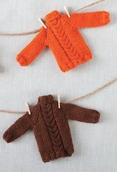 Tiny Holiday Sweater Ornament Pattern - Free Knitting Patterns by Nina Isaacson