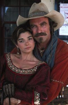 Laura San Giacomo Tom Selleck in ''Quigley Down Under'' One of my favorite Westerns .for Deb Tom Selleck, Western Film, Western Movies, Western Art, Laura San Giacomo, Movie Stars, Movie Tv, Cowboy Up, Cowgirl Chaps