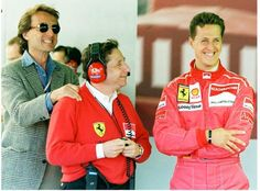 Ferrari F1 - Luca di Montezemolo con Michael Schumacher e Jean Todt sul circuito di Silverstone nel 1996