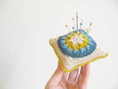 crochet pincushion Sylvia beige mustard teal and by emmalamb, £17.00