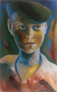 The blue beret Mary Sekoto 1947 Gerard Sekoto Harlem Renaissance, Gerard Sekoto, Future Artist, Black History Month Activities, Made By Mary, Art Deco, South African Artists, Magic Realism, Art Database