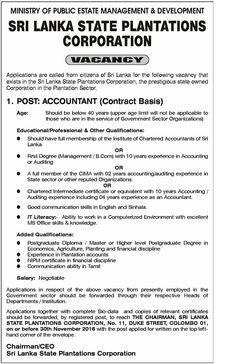 Sri Lankan Government Job Vacancies at Sri Lanka State Plantations Corporation for Accountants