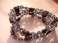 """amazing necklace,bangle Magnetic versatile 36""""beautiful beads shades of blue"""