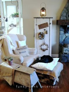 Livingroom whites with new junk storage | Funky Junk InteriorsFunky Junk Interiors