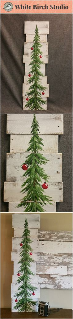 "Original Acrylic painting on reclaimed Pallet boards. This unique piece is 36"" x apprx. 12""  This Christmas tree with red bulbs on a white-washed background is perfect for a personalized rustic touch to your Christmas decorating. Perfect for that skinny wall space or just lean it against the wall."