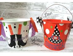 Personalized 5 Quart Halloween Bucket by monkeyseeboutique on Etsy, $22.00