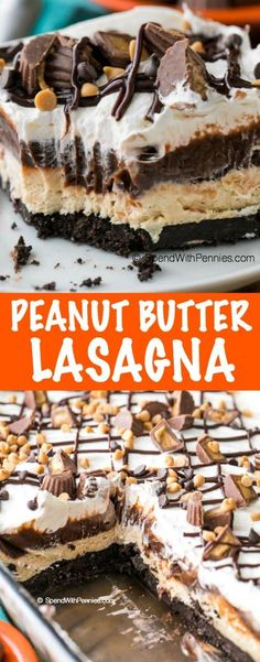 This is the best peanut butter dessert I've ever had! Peanut Butter Lasagna is a light and rich no bake dish with layers of chocolate, fluffy peanut butter and whipped topping all nestled on top of an Oreo cookie crust.