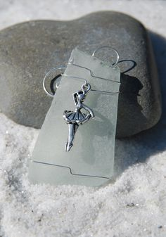 Silver Ballerina Charm on a Genuine Frosted Sea Glass Ornament