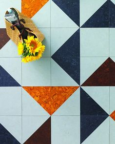 vct flooring in triangle pattern